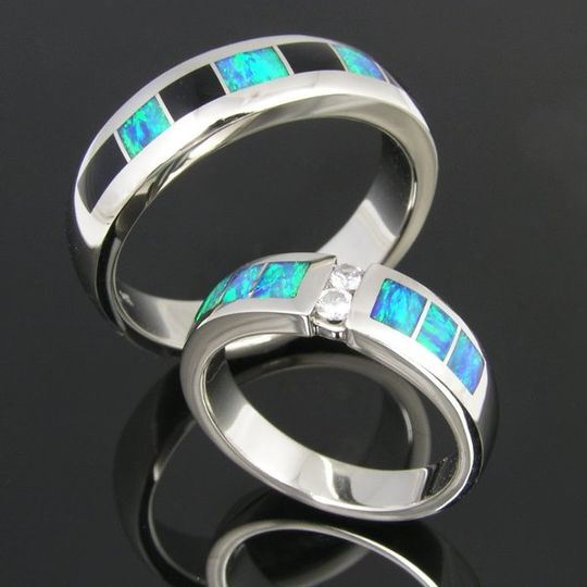 His and hers  sterling silver opal inlay wedding set.  Her ring features Australian opal inlay...