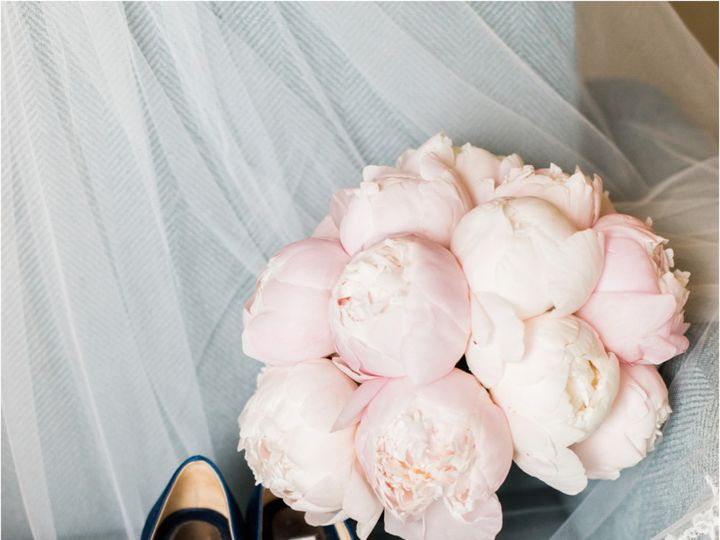 Tmx 1455374939630 Blush Peony Bouquet With Blue And White Striped Ha Baltimore, MD wedding florist