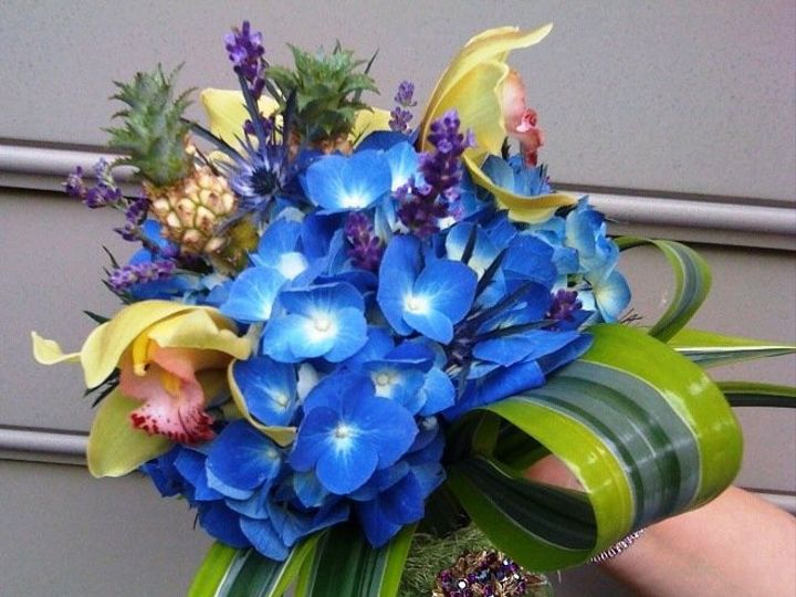 Tmx 1455377280556 Tropical Pineapple Royal Blue Hydrangea Bouquet Cy Baltimore, MD wedding florist