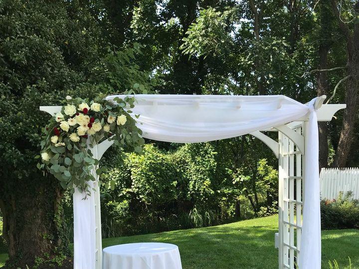 Tmx Corner Swag Burgundy White Euch Overhills 51 146395 Baltimore, MD wedding florist