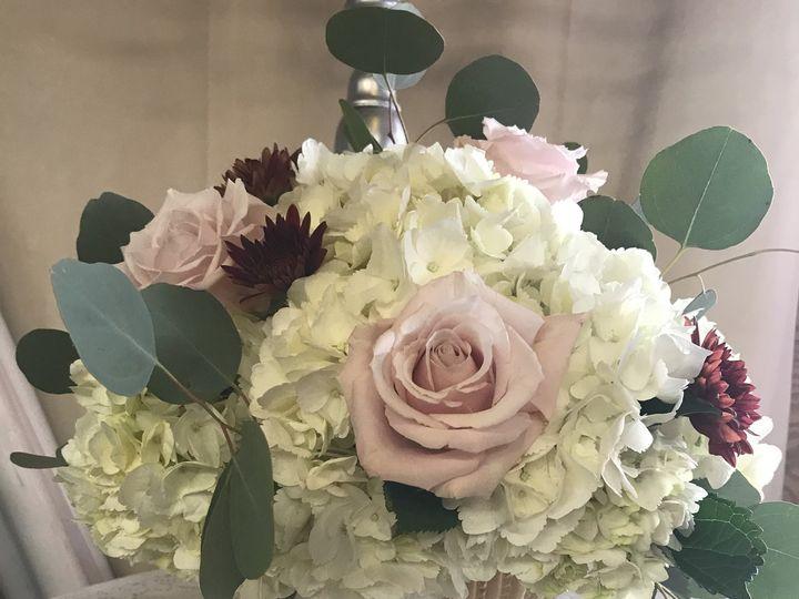 Tmx Low Gold Compote Pink Blush Rose Burgundy Mum Silver Dollar Euch Centerpiece 51 146395 Baltimore, MD wedding florist