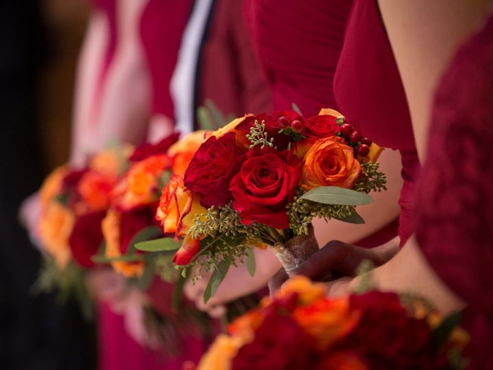 Tmx Red Rose Orange Rose Red Hypericum Seeded Euch Bridesmaid Bouquet Fall Autumn 51 146395 Baltimore, MD wedding florist