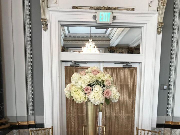 Tmx Tall Blush Pink Rose Hydrangea Babys Breath Gold Pilsner Vase Centerpiece Belvedere 51 146395 Baltimore, MD wedding florist