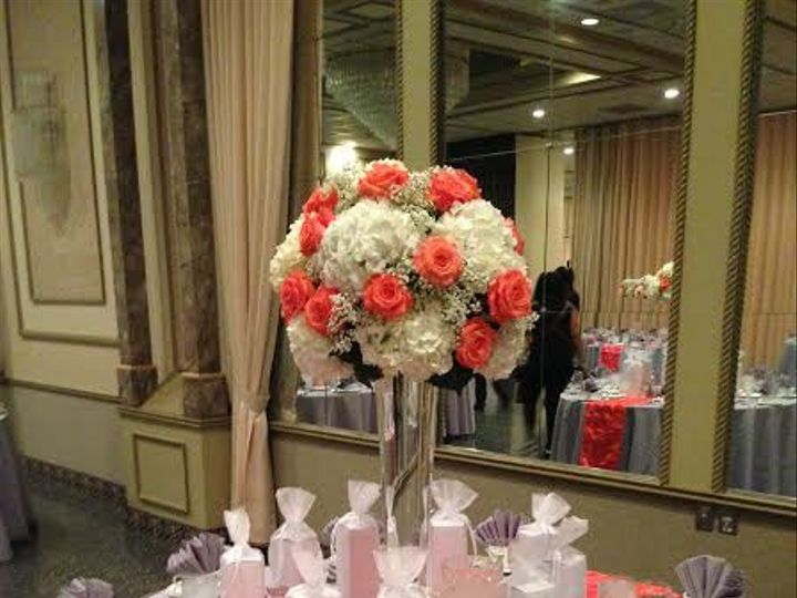 Tmx Tall Coral Rose Centerpiece Martins East 51 146395 Baltimore, MD wedding florist
