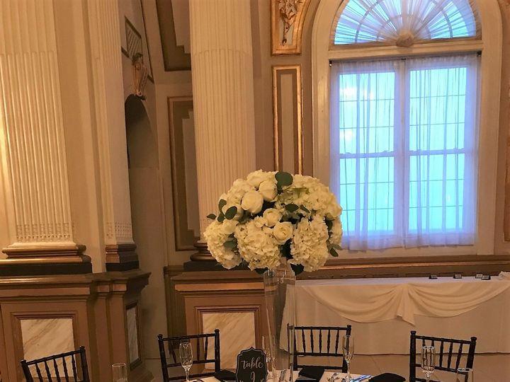 Tmx Tall Pilsner White Hydrangea White Rose Silver Dollar Centerpiece Belvedere 51 146395 Baltimore, MD wedding florist