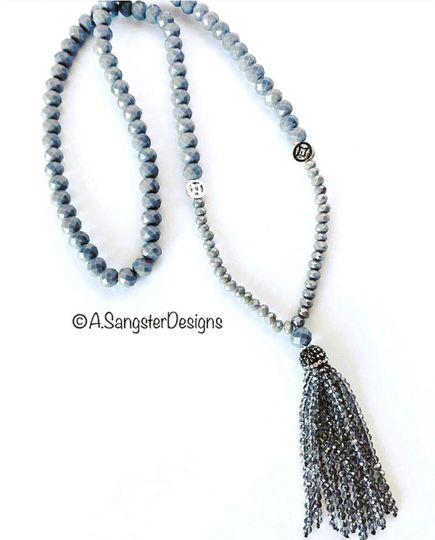 Grey Tasseled Necklace