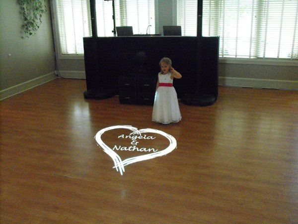 Reception with monogram projection