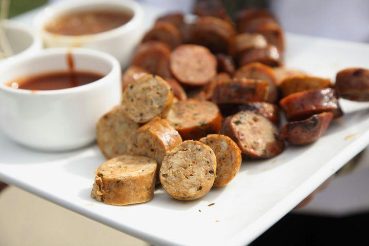Assorted sausage bites with dipping sauces