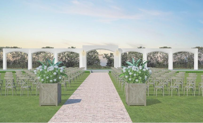 The Ivory archway is an eye-catching outdoor ceremony location and serves as a one-of-a-kind...