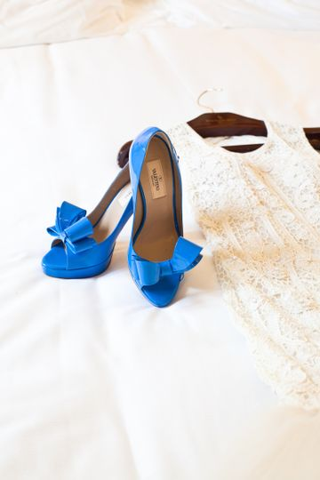 Valentino Shoes and Lazaro Wedding Dress