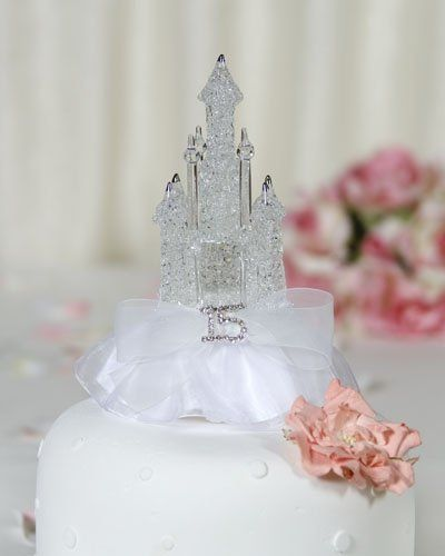 This beautiful quinceanera - sweet sixteen cake topper features a rhinestone 15 or 16 with an...