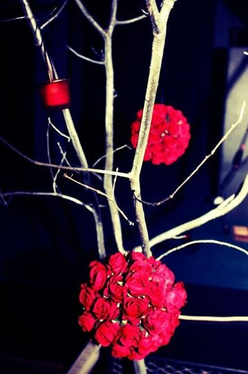 Red Rose Tree Memorable Designs by Melissa made for a wedding. It had red rose kissing balls, and...