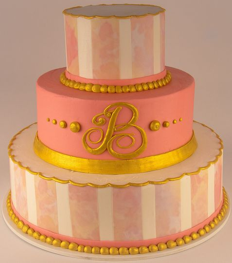 Pink themed cake with gold accents