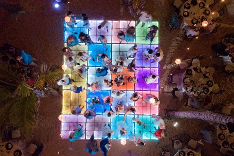 Aerial view, led dance floor