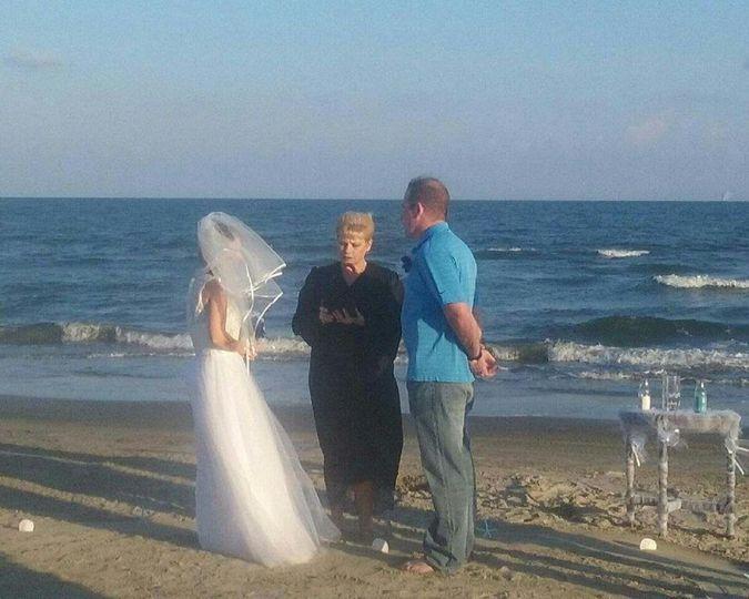 Ongoing beach wedding