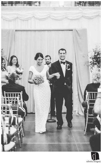 Happy couple post-ceremony.