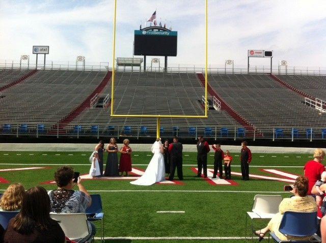 Football field wedding