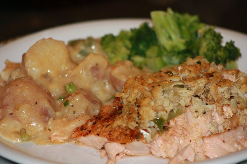 Grilled Salmon with Crab Dressing, Shrimp AuGratin,