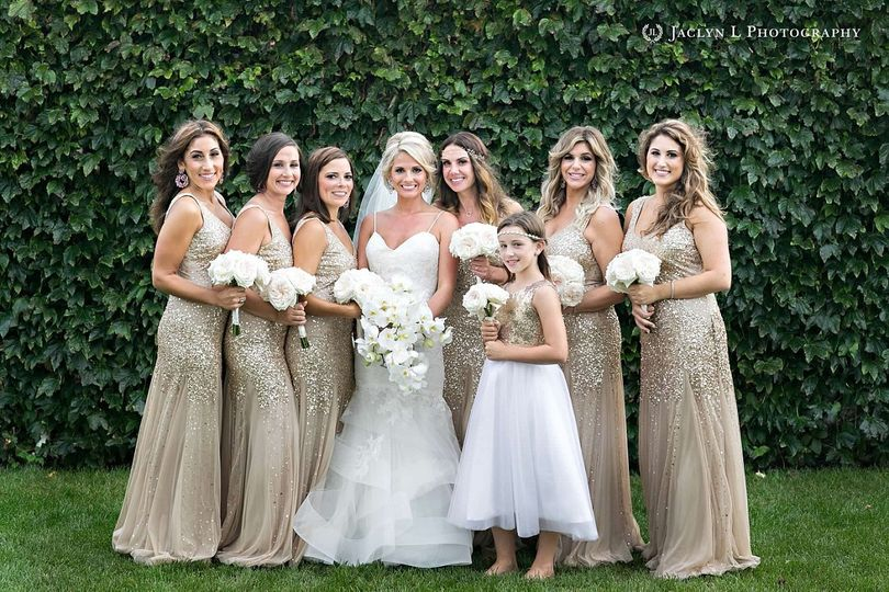 Bride and bridal attendants