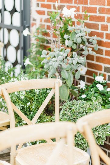 Rustic chairs and floral decor