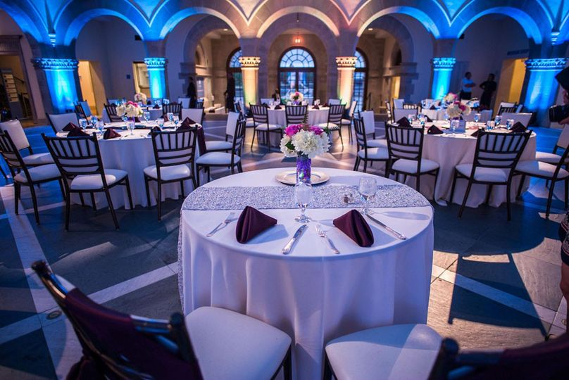 Reception hall and blue uplighting