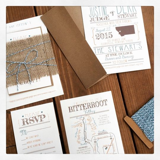 Burlap & twine wedding invitation