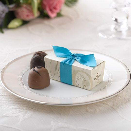 Cocoa Pod Favor Box - Turquoise Ribbon
