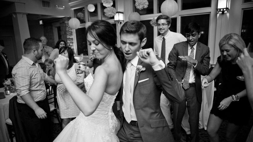 Bride and groom enjoying