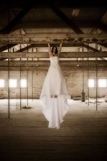 Dangling bride in warehouse.