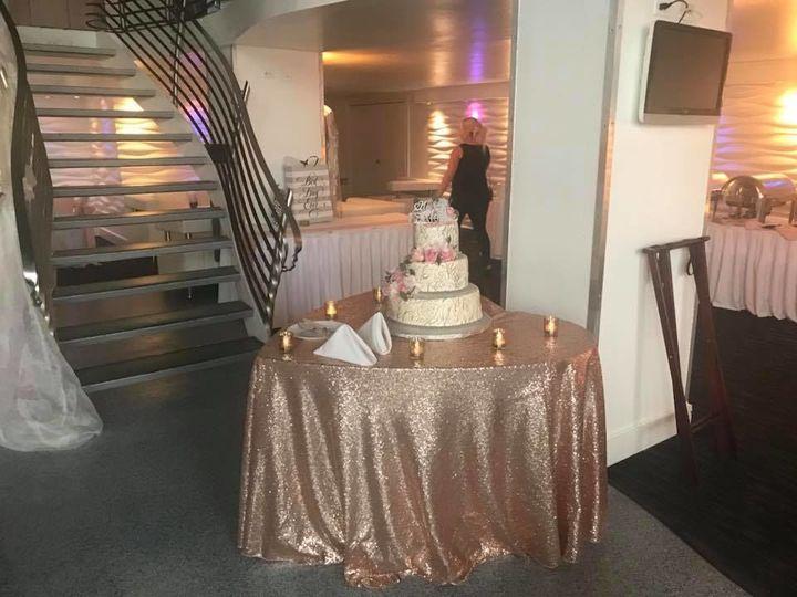 Wedding cake on round table