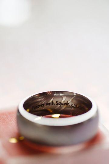 Nicole Mera x Lashbrook Damascus Steel Wedding Band with personalization