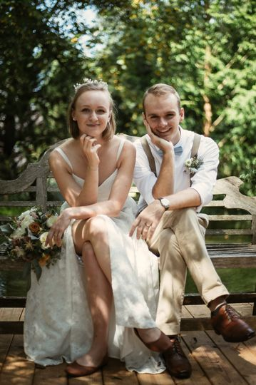 Newlyweds pose - Wildflower Films