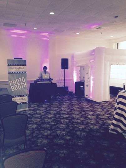 DJ 40 and our brand new Inflatable LED light up Photo Booth Enclosure!! #enchantedbridebridalshow