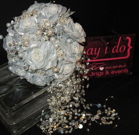 Say i do love wedding events llc flowers cincinnati oh brooch silk flower bridal bouquet with pearls and rhinestones and cascade of bling garland mightylinksfo