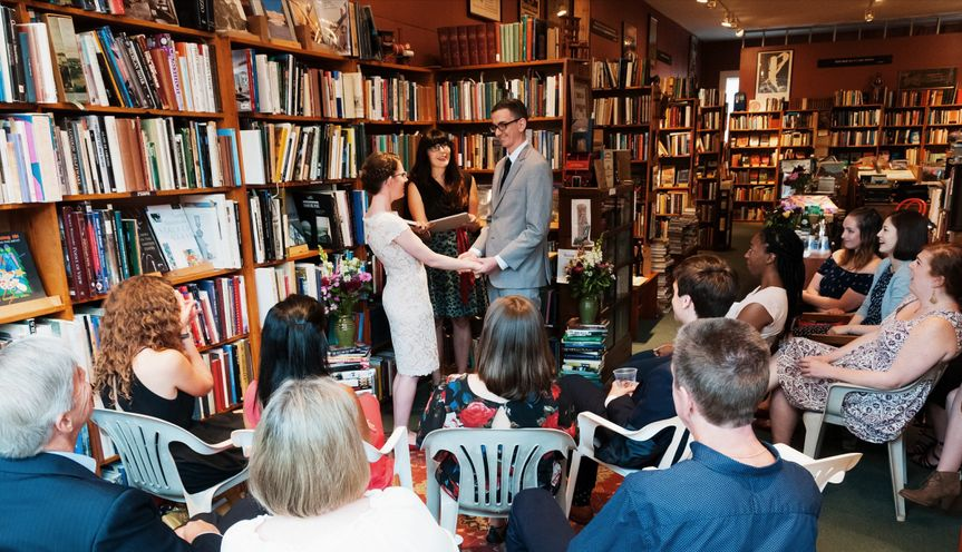 A literary wedding in a used bookstore Photo by Charlie Edwards (2017)
