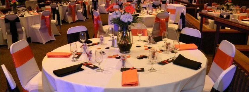 Black, orange, and white linens