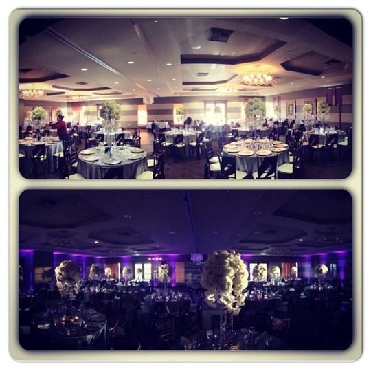 Vellano Country Club - Chino Hills, CA  (Before & After) Centerpiece Pinspots Purple Uplighting DJ &...