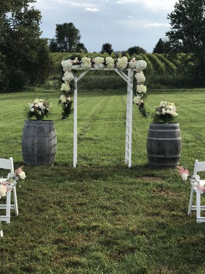 Lovely Flowers for an amazing fall wedding ~  we also rent the pictured Arch!