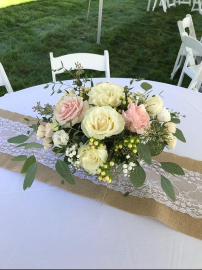 Blush floral centerpiece