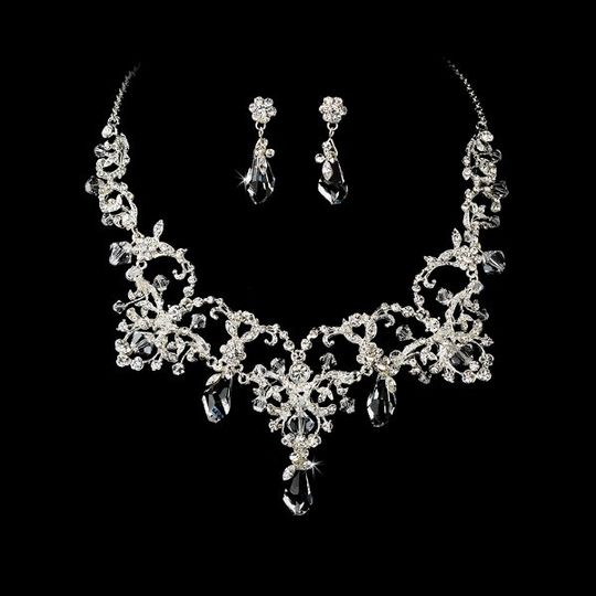 CoutureSilverClearCrystalBridalNecklaceEarringSetWF6062