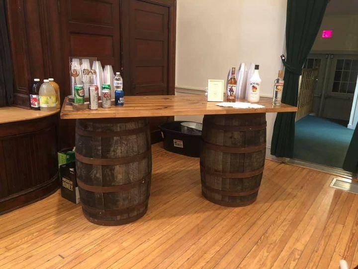 Whiskey Barrel Bar Setup
