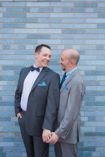 Gay Wedding with Blue Backgrou