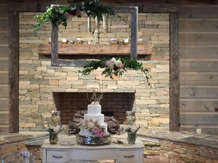 Cake in front of the fireplace