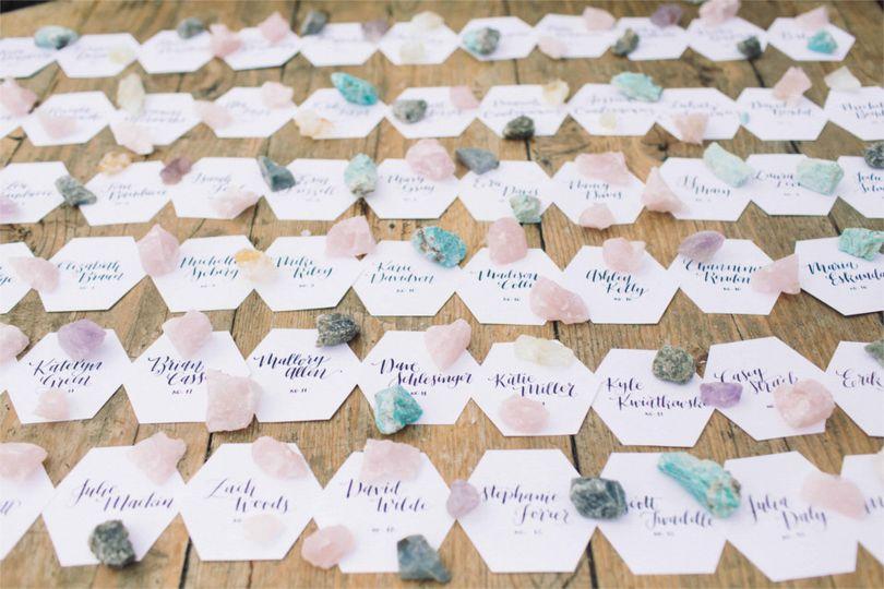 rustic beach wedding hexagon escort cards crystals