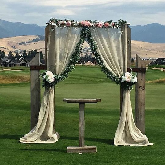 Wedding arch and podium