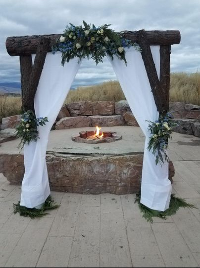 Decorated Arch with Fire Pit