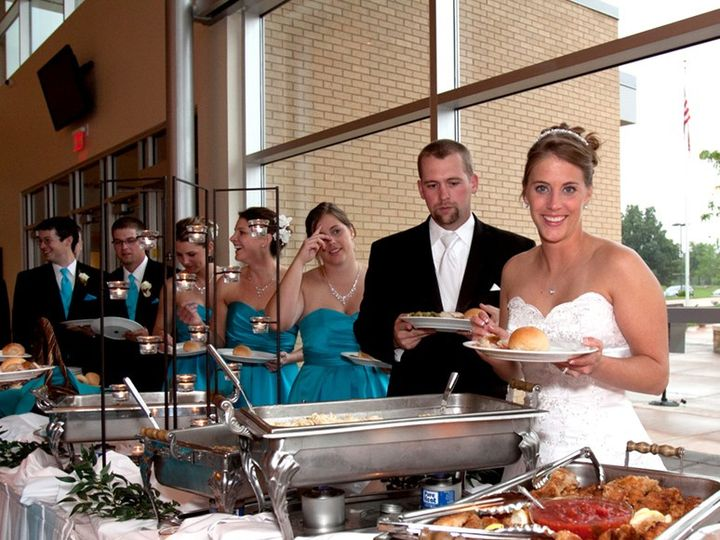 Tmx Bride And Groom At Buffet 51 609795 157566559140935 Saint Louis, MO wedding catering