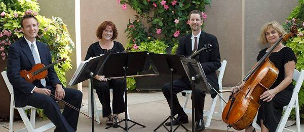 The Giovanni String Quartet at a wedding, Botanical Gardens in Albuquerque, NM.
