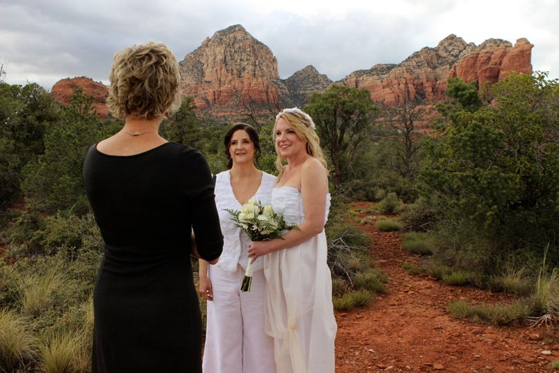 Sedona ceremony under dramatic skies