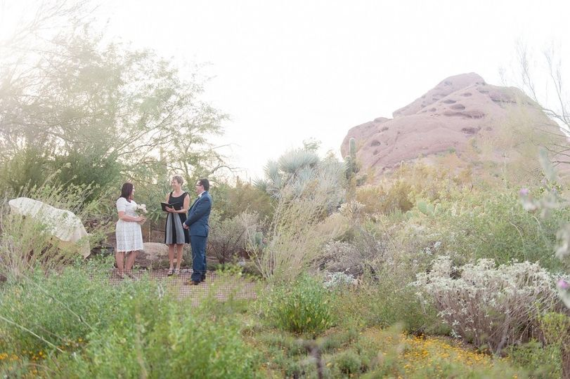 April and Patrick marry in a private ceremony at the Desert Botanical Garden. (Ryan and Denise...